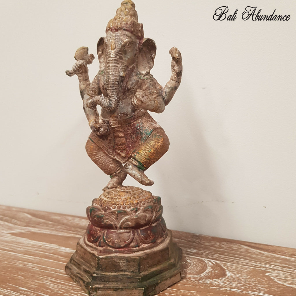 Brass Ganesha Statue with Antique Finish - 67G