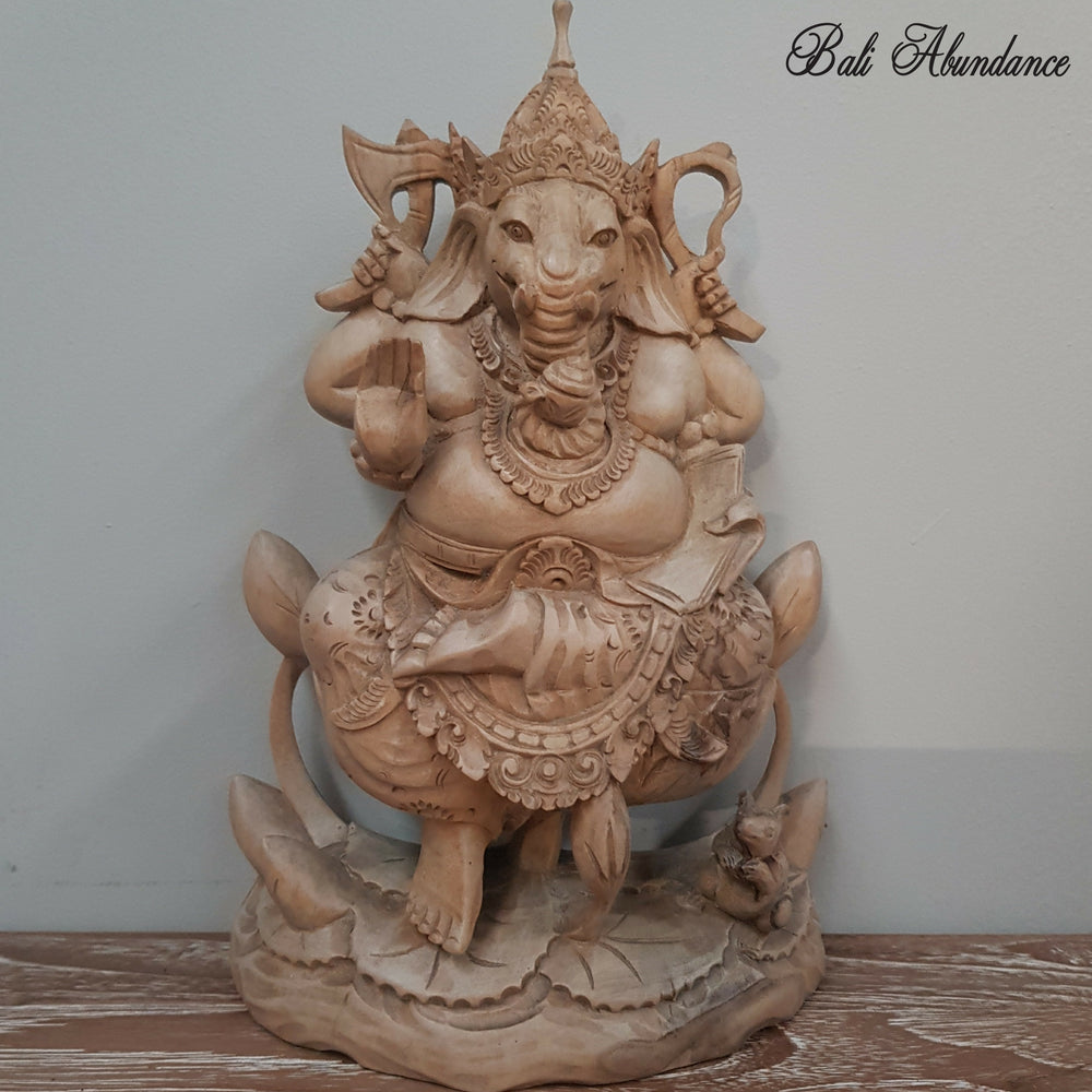 Hand Carved Timber Ganesha Statue - 69G