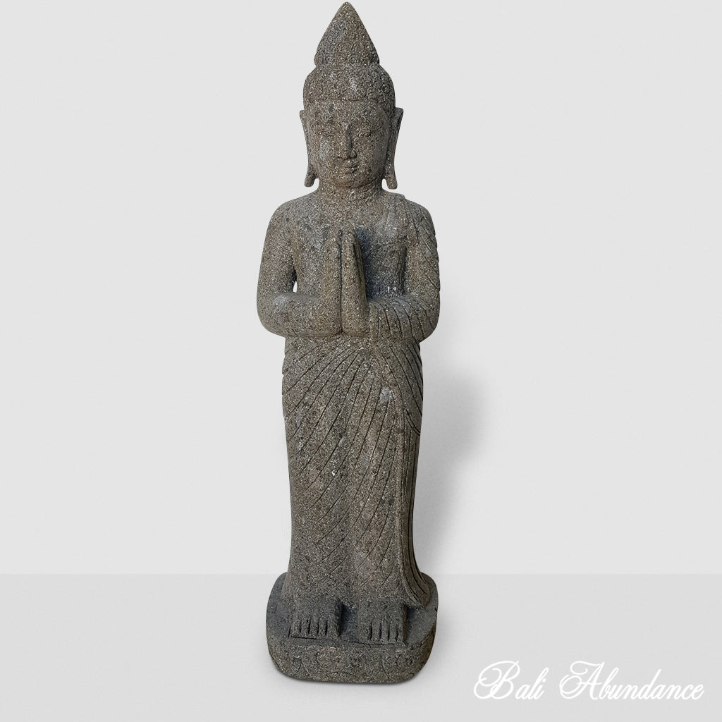 Hand Carved Greenstone Praying Buddha Statue