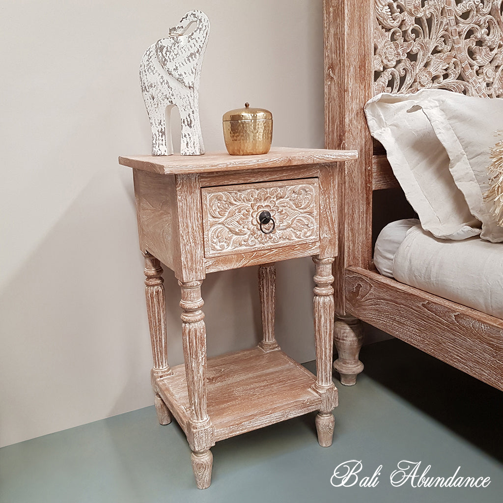 Bali bedside hand carved whitewash 1 draw