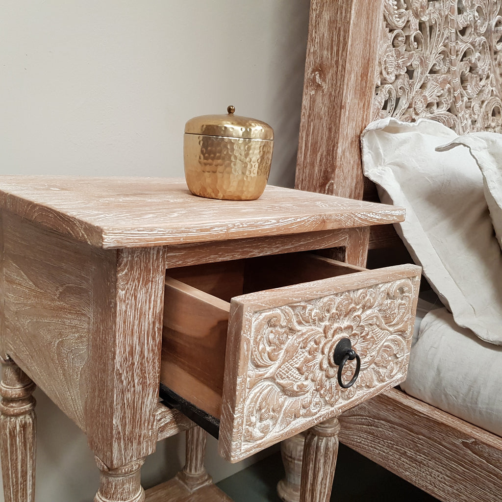 Hand Carved Teak INDAH Bedside Table in WHITEWASH