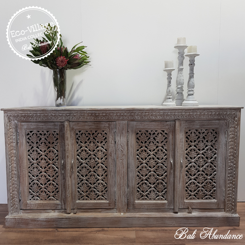 Indian Hand Carved Sideboard - Eco Village Collection 32U