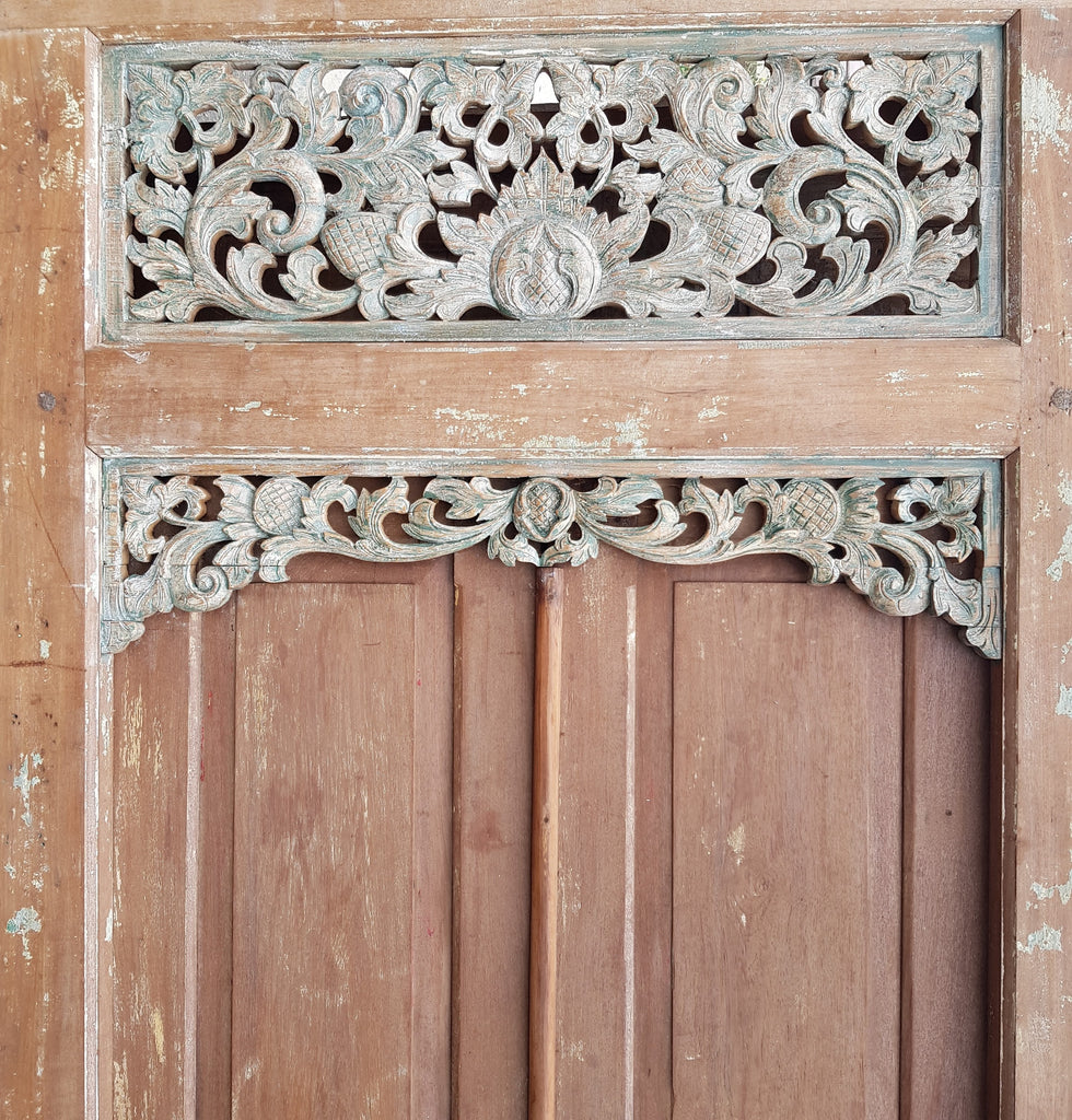 Balinese Vintage Hand Carved Natural Teak Timber & Green Double Door