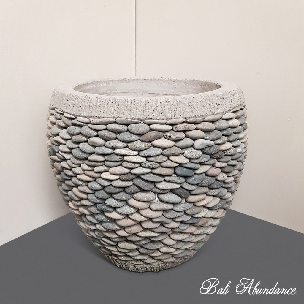 Hand Made Cement Pebble Stone Pot Planter