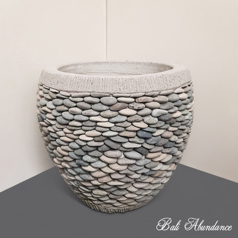 Hand Made Cement Pebble Pot Planter
