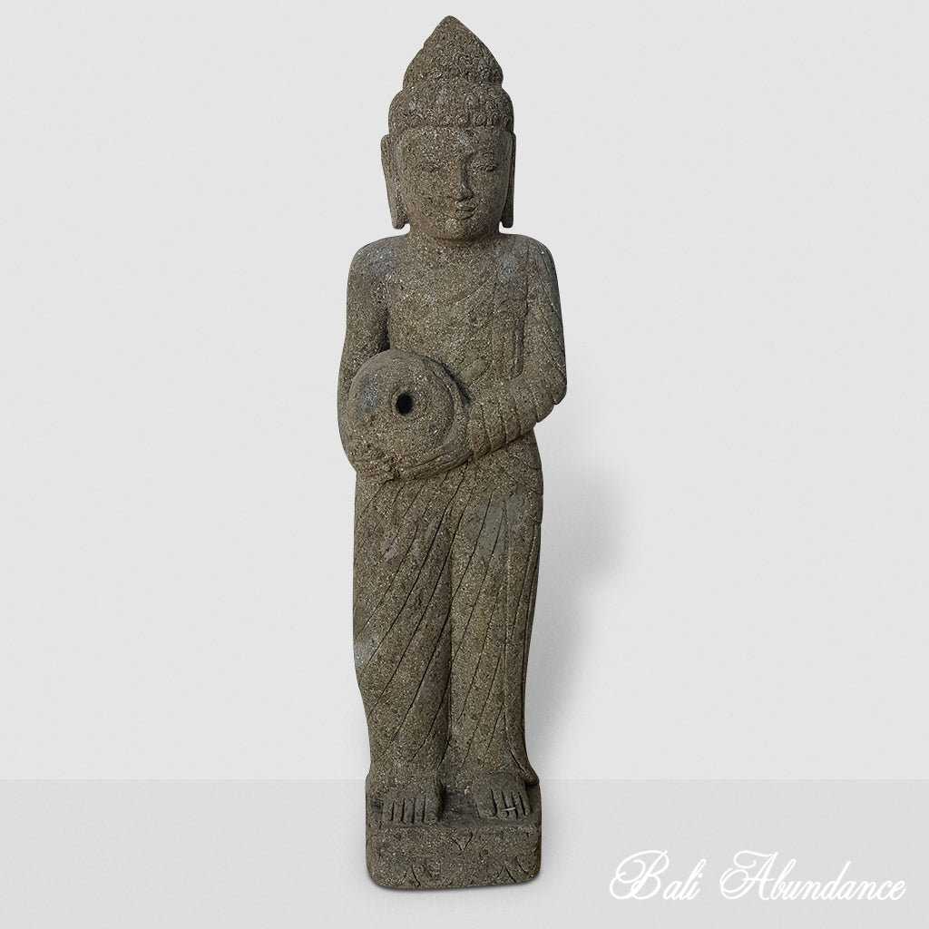 Hand Carved Greenstone Standing Buddha Statue