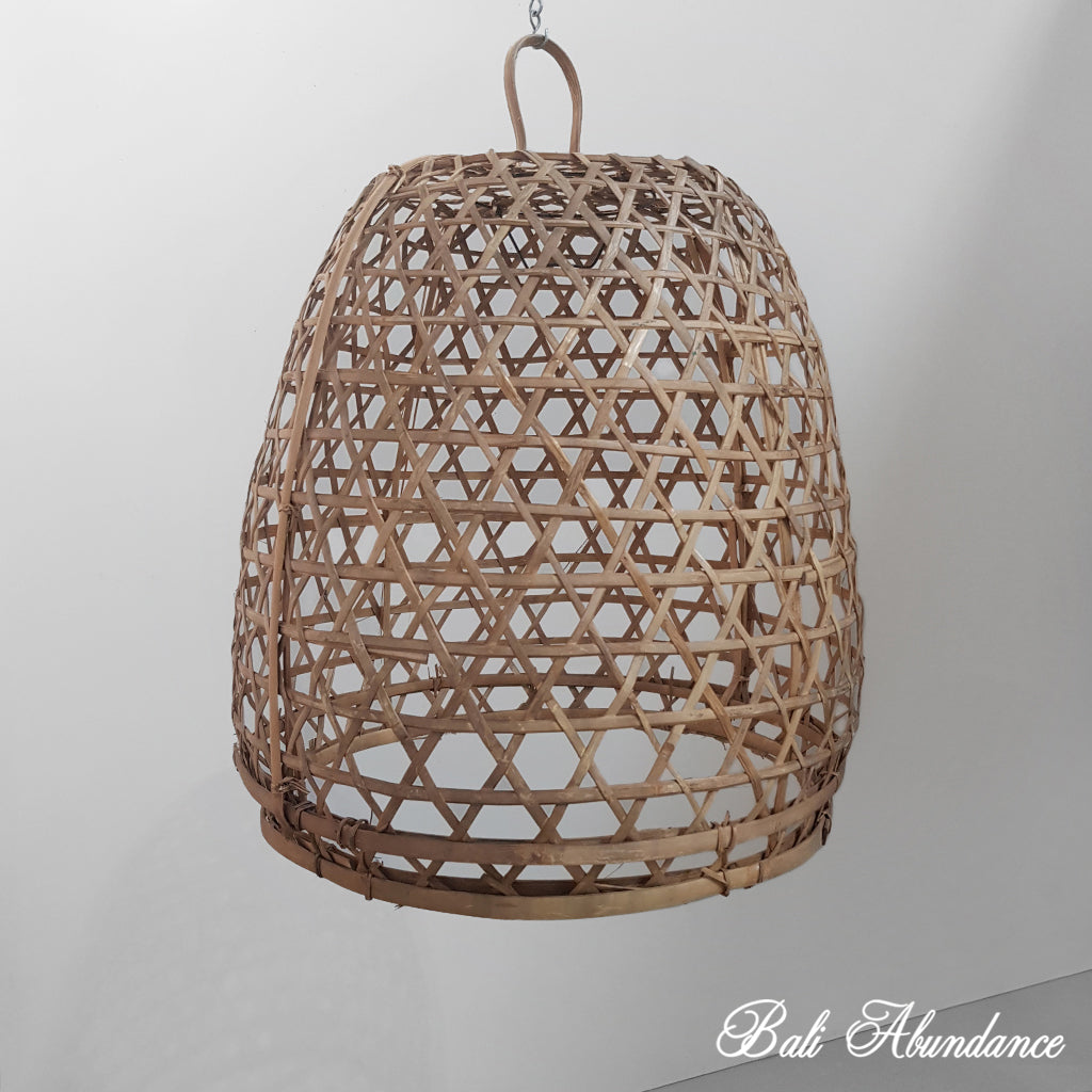 Handmade Bamboo Chicken Basket Pendant - Large