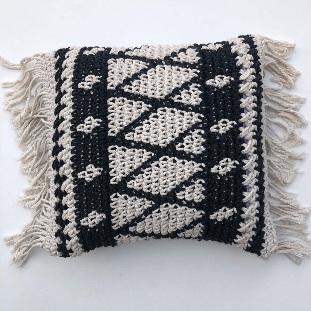 Macrame Cushion Cover with Fringe - Black and White