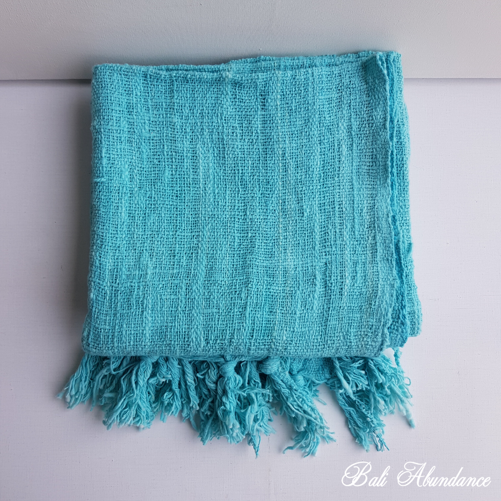 Throw Blanket with Fringe - Blue