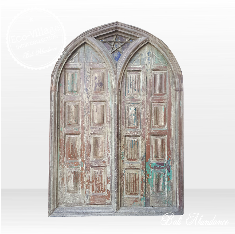 Indian Door Gothic Design Timber Carving in Original Frame 8C - Eco Village Collection