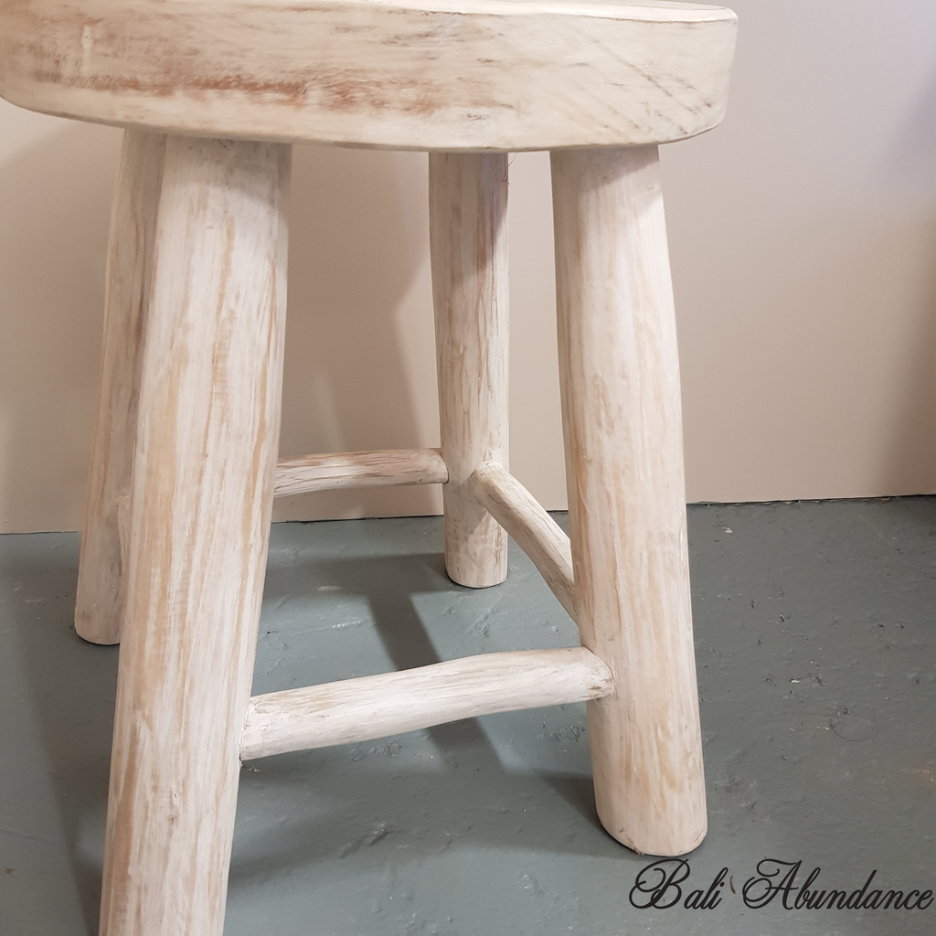 Hand made Whitewash Teak Wood Round Stool