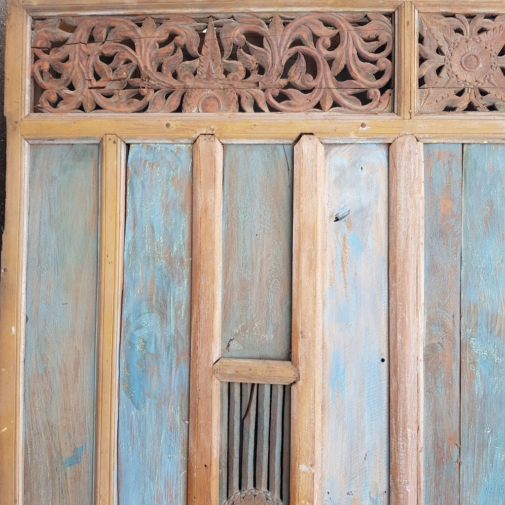 Balinese Rare 3 Piece Hand Carved Door with Two Matching Panels