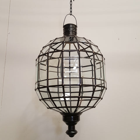 Large Metal & Glass Ball Lightshade with Opening Door