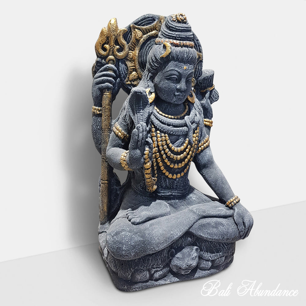 Hindu Shiva Statue  Black and Gold 98N