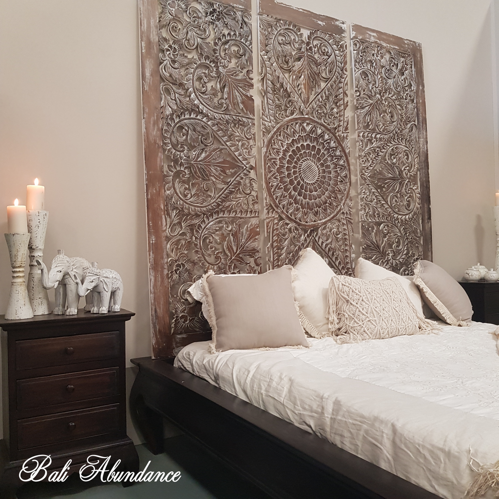 Hand Carved 3 Piece BROWNWASH Bed Head Wall Panel 180 x 180