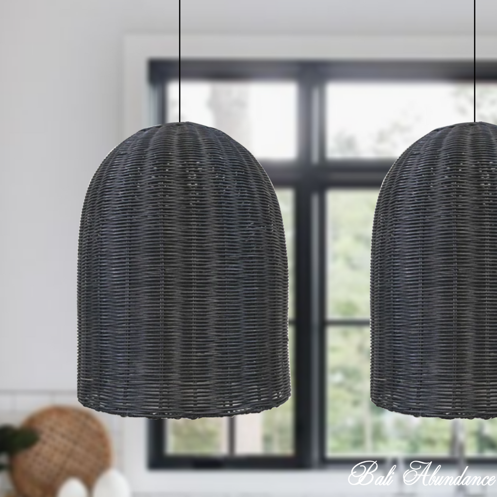 Handmade Rattan Dome Light Shade Pendant -Black