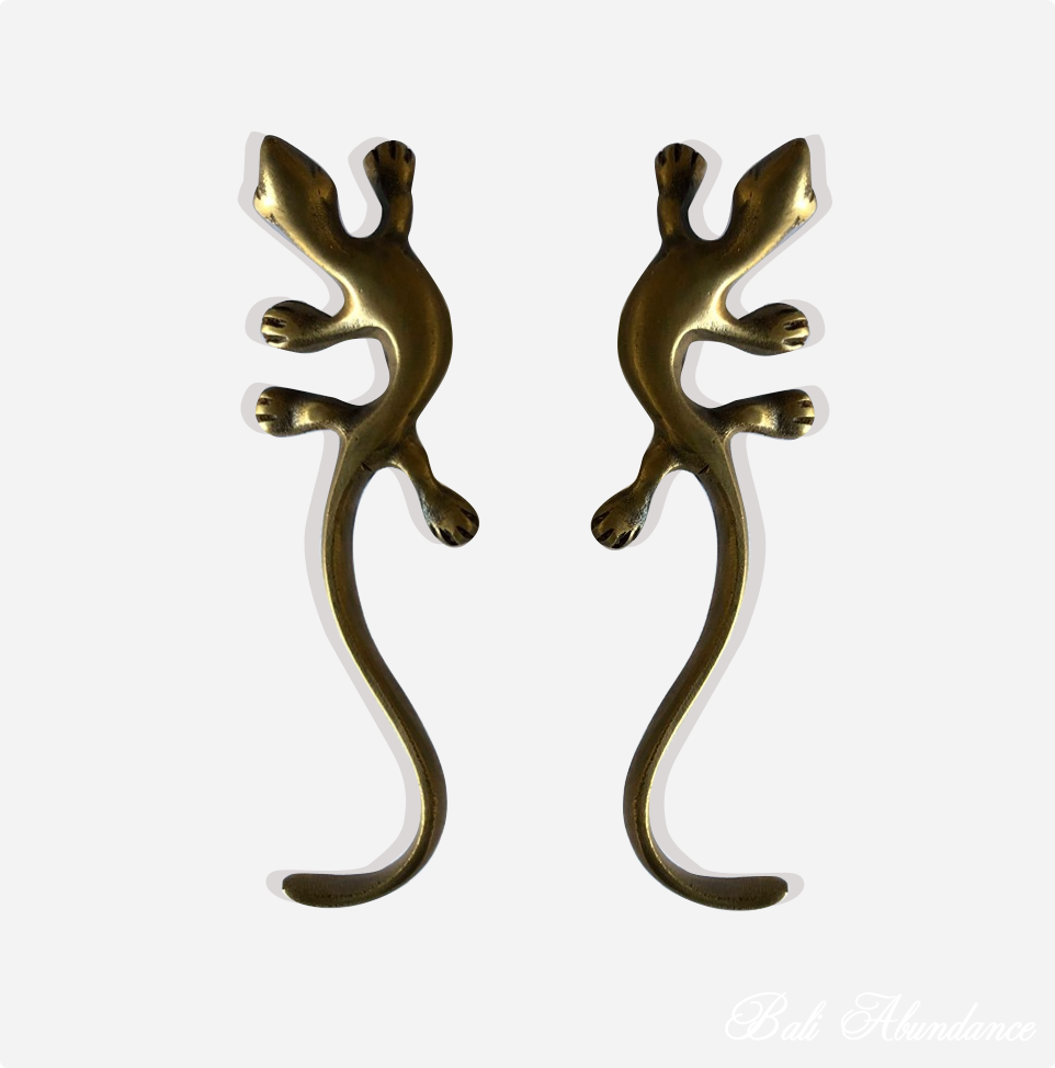 Antique Brass Gecko Lizard Door Handles - 12cm