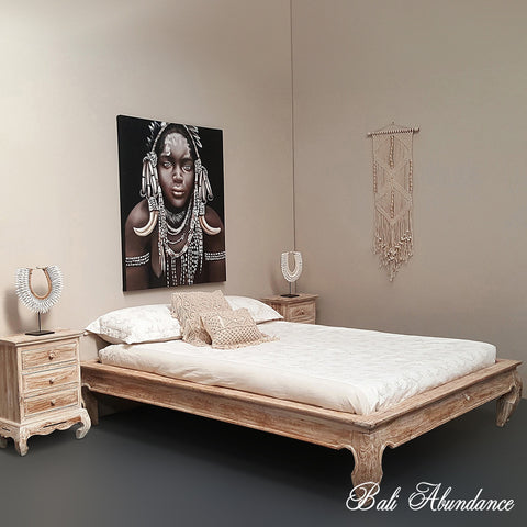 Minimalistic OPIUM Hand Carved Teak Bed in Whitewash