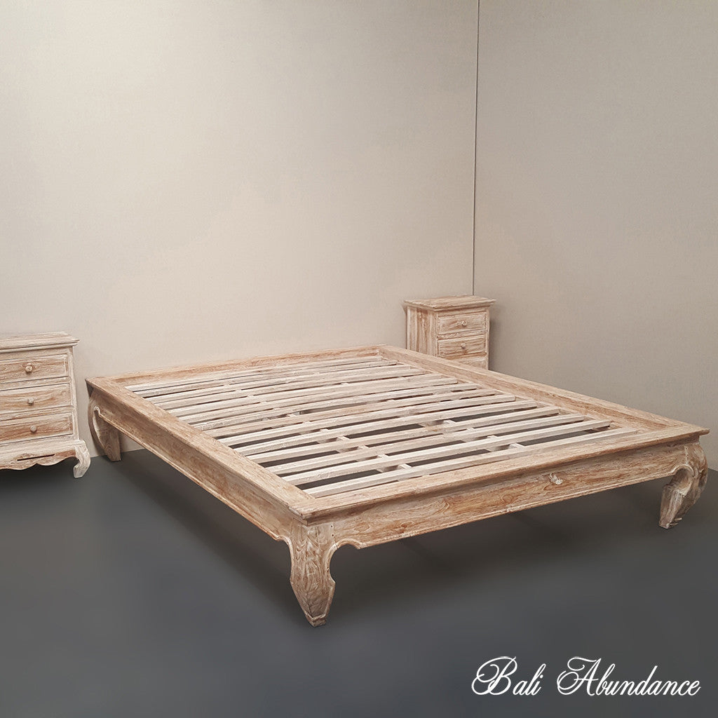 Hand Carved Bed: Minimalistic OPIUM Hand Carved Teak Bed In Whitewash
