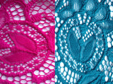 Very Very dress Edwina teal and fuchsia lace fabric