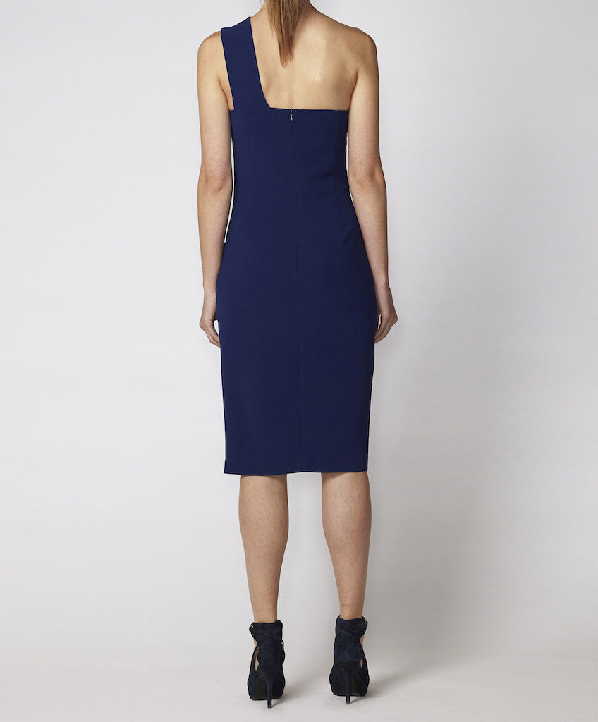 One shoulder dress with keyhole Billie GSS sapphire back
