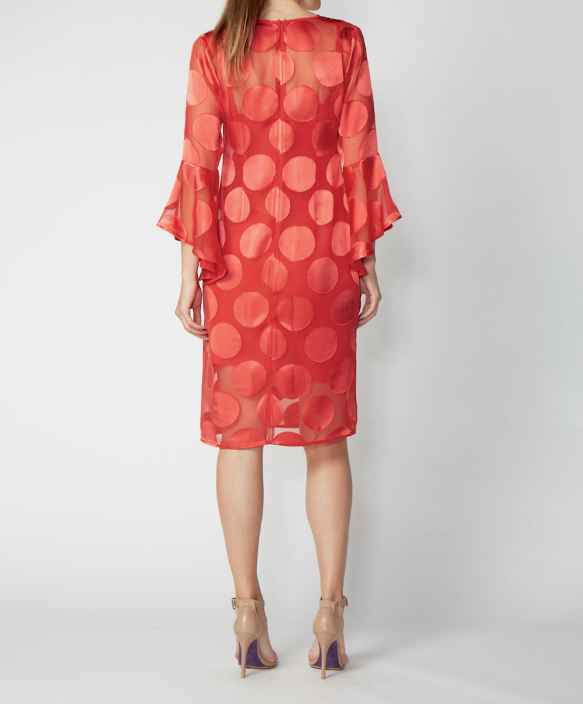 Very Very V-neck dress with flute sleeves Brooke MSO back