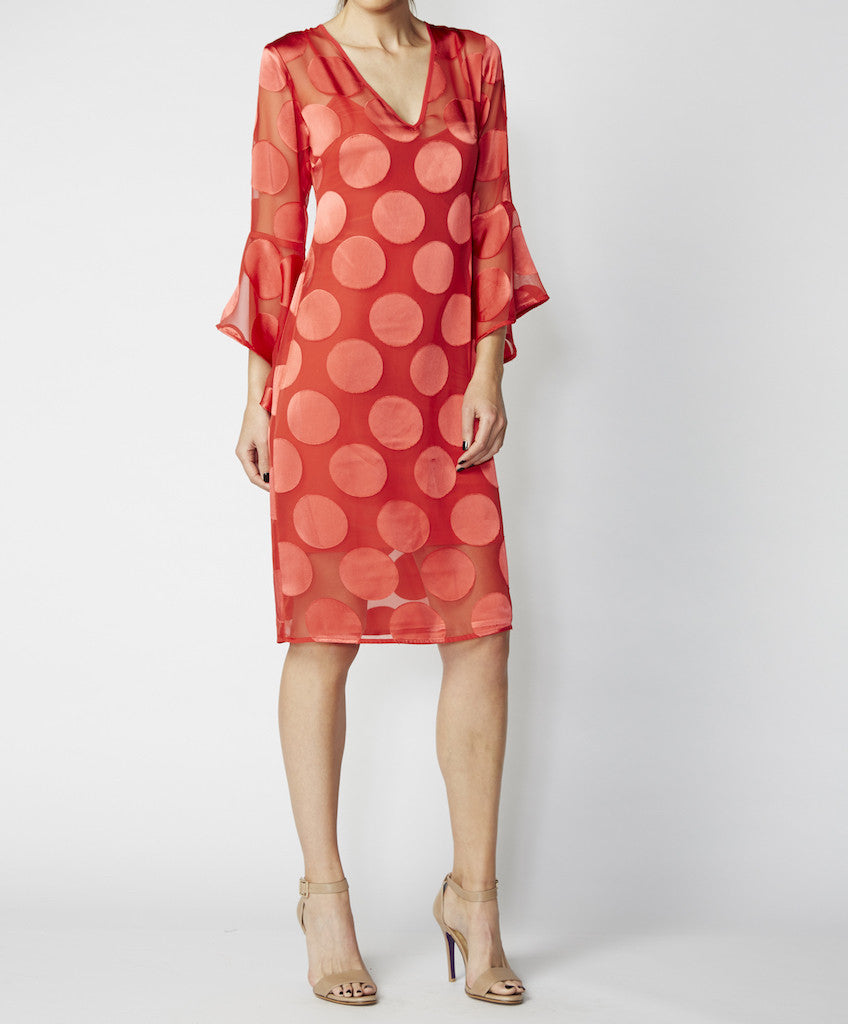 Very Very V-neck dress with flute sleeves Brooke MSO
