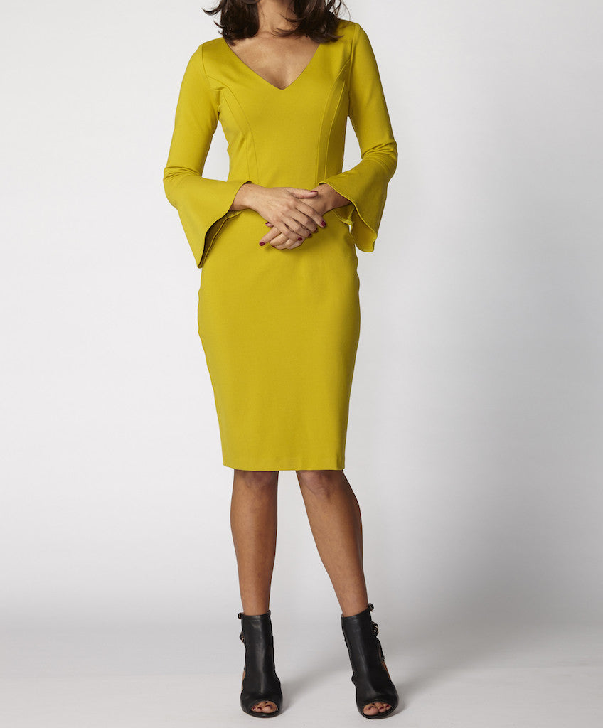 Very Very Winter 2017: Devon PON - a v-neck flute sleeve dress available in black, chartreuse, garnet and winter white