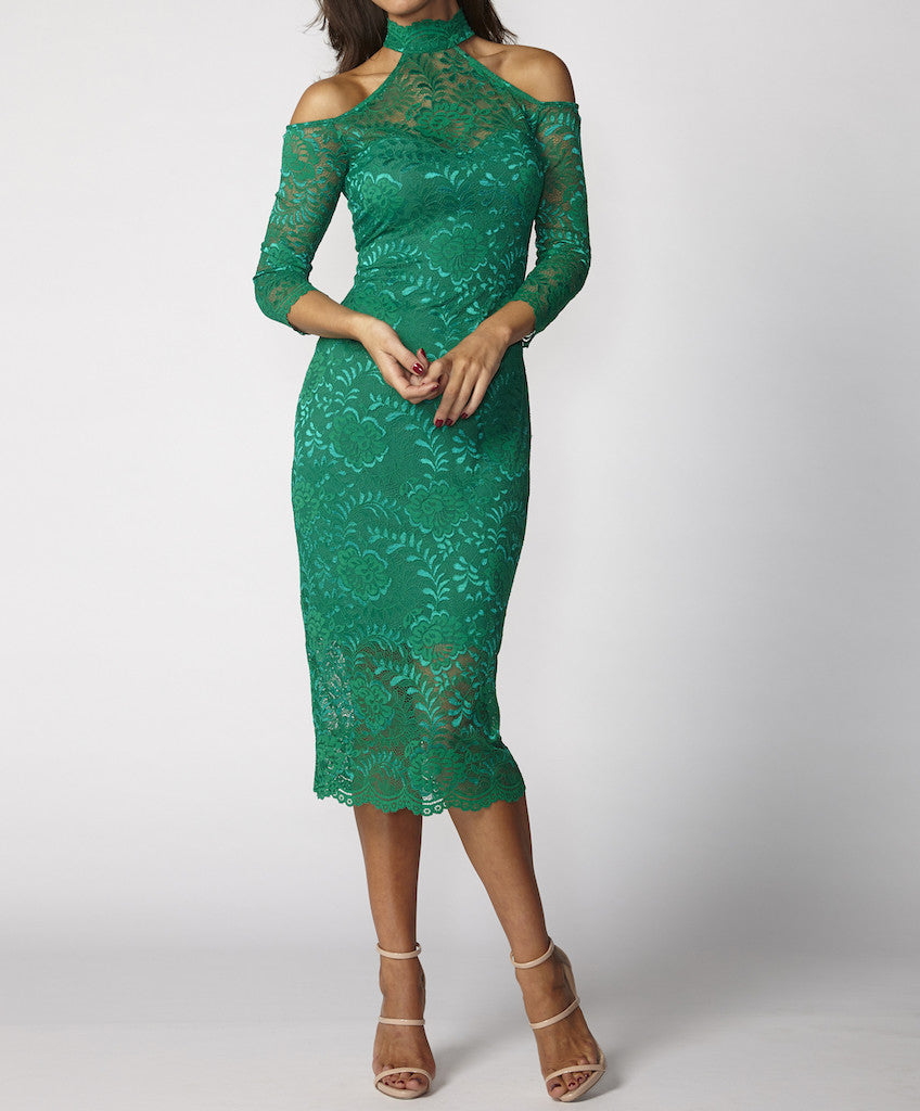 Very Very Winter 2017: Edwina FCL - a cold shoulder lace dress available in emerald, ink
