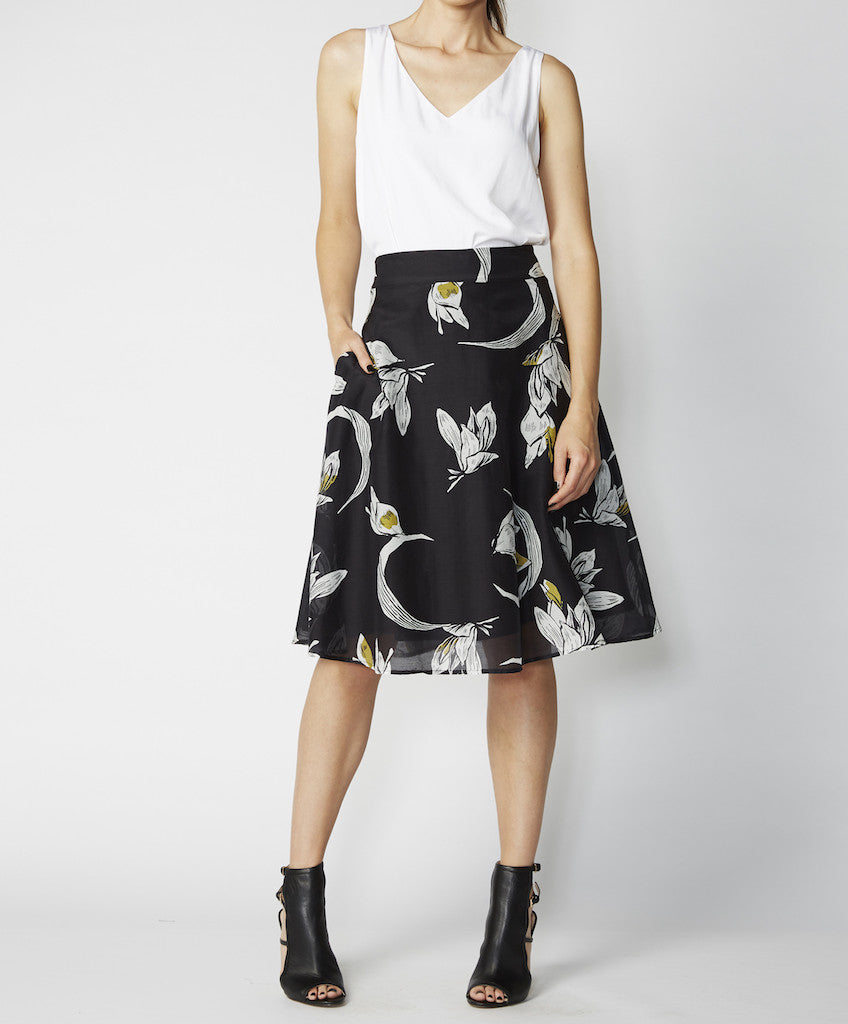 Very Very silk cotton full skirt Fifi CMS in black floral