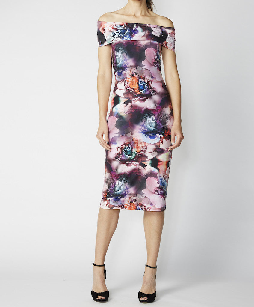 Very Very off shoulder body con dress Hari SWK, multi-coloured