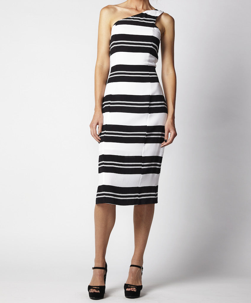 Stripe one shoulder fitted dress Leisel CTS