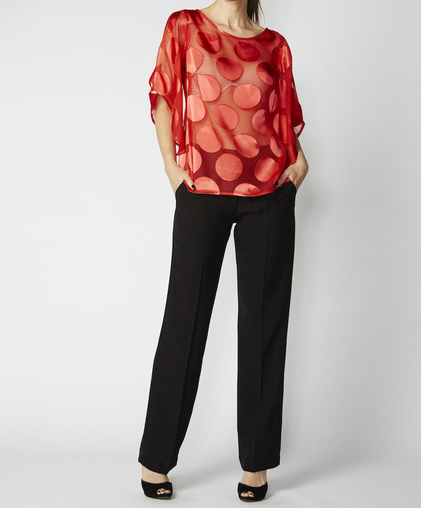 Very Very split sleeve boat neck top Mindy MSO, available in black, coral and white