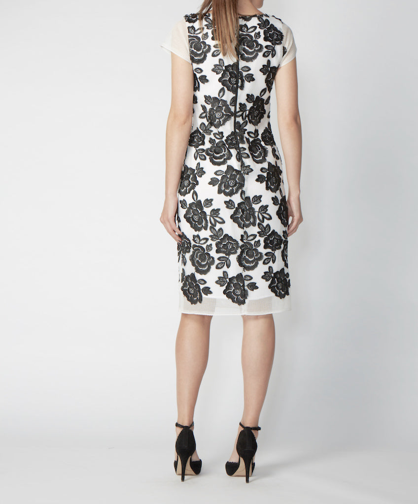 Very Very V-neck fitted dress with cap sleeves Nicole CGA back