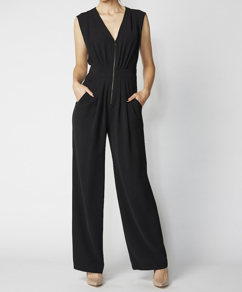 Very Very black zip front jump suit Pippa GSS