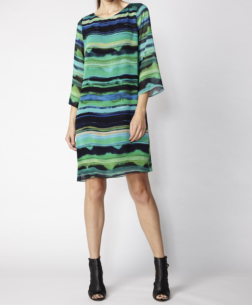 Very Very ink and green striped flute sleeve dress Porche PGS