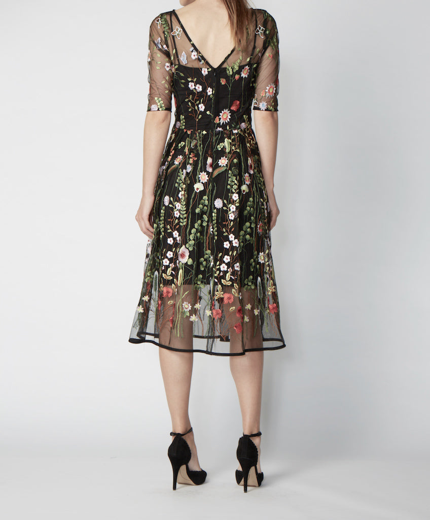 Very Very embroidered sheer fit and flare dress Romance PLE back