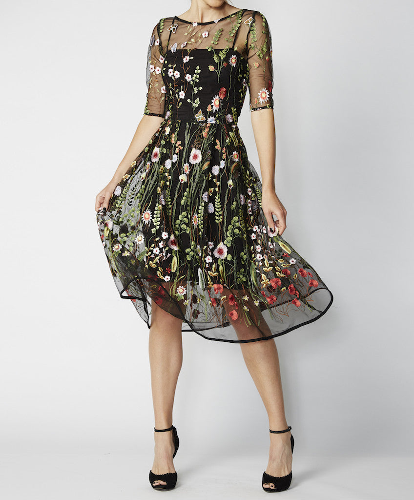 Very Very embroidered sheer fit and flare dress Romance PLE
