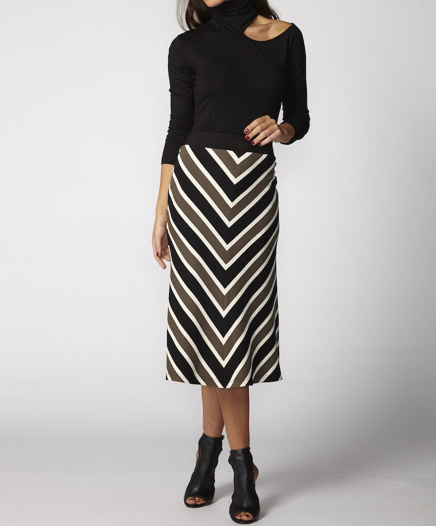Very Very Winter 2017: Sierra MBS - a striped fit and flare midi skirt available in caramel and olive