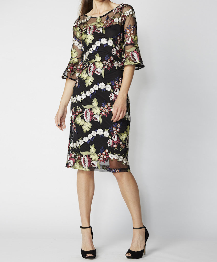 Very Very flute sleeve fitted dress with slip Viena MCE