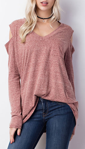 Triblend V-Neck Open Shoulder Top