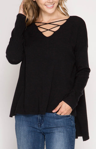 Sweater with Criss Cross Neck