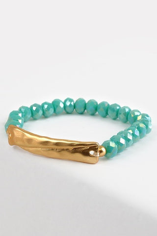 Turquoise Crystal Bead Stretch Bracelet