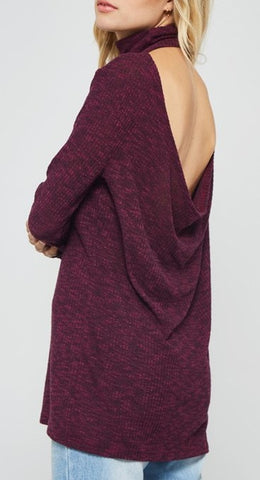 Draped Back Turtle Neck Top