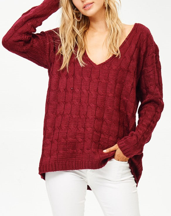 Burgundy V-Neck Pullover Sweater