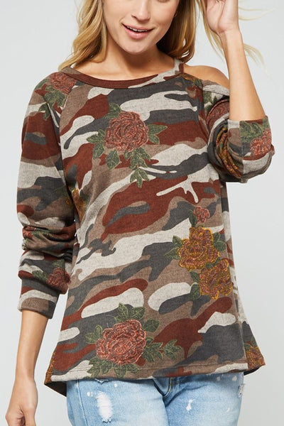 Floral Camo Top with  Cold Shoulder