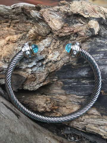 Yurman Style Bracelet with Crystals - Ice Blue