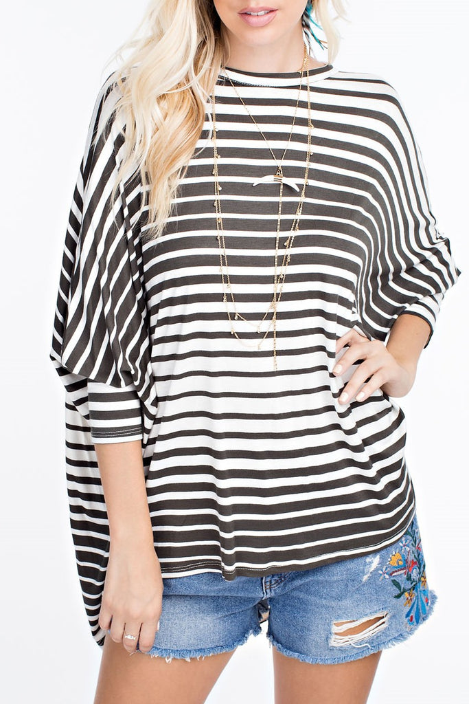 Striped Dolman Jersey Top
