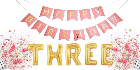 we are turning three, gold letter balloons, sahira jewelry design