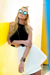 claire anderson photo, miami beach photoshoot, bad harbor marina, quay sunglasses, sangie palm beach